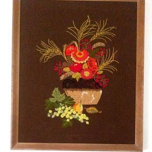 Vintage Fruit & Floral Crewel Framed Art